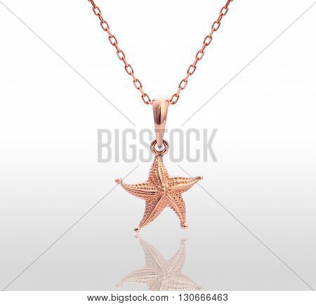 Gold pendant in the shape of a star. Isolated white background.