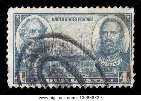 USA - CIRCA 1937: a stamp printed in USA shows Generals Robert E. Lee, Stonewall Jackson and Stratford Hall, circa 1937