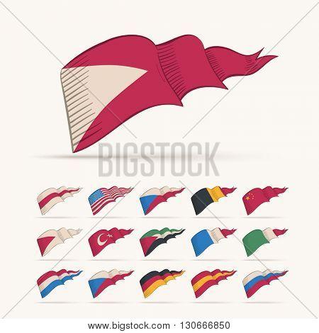 Various vector national triangle flag set. Easy editable global retro colors.