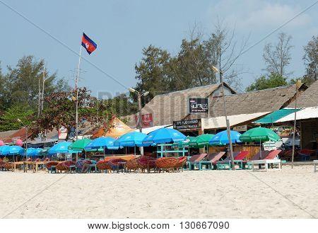 Sihanoukville Cambodia - March 19 2015 : Sun beds on the beach in Sihanoukville