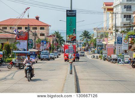 Sihanoukville Cambodia - Mar 19 2015 : Sihanoukville Downtown Sihanoukville is a coastal city in Cambodia