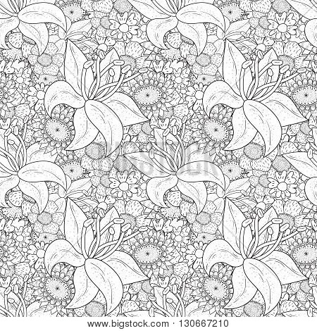 Vector  Monochrome seamless Floral  pattern. Hand Drawn Floral Texture, Coloring Book