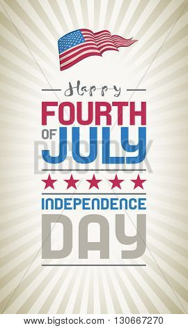 Vector Fourth of July design. Independence Day of United States of America.