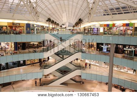 Dallas, Texas - May, 2106:  Shopping Mall shows less people out shopping, perhaps due to the election year.