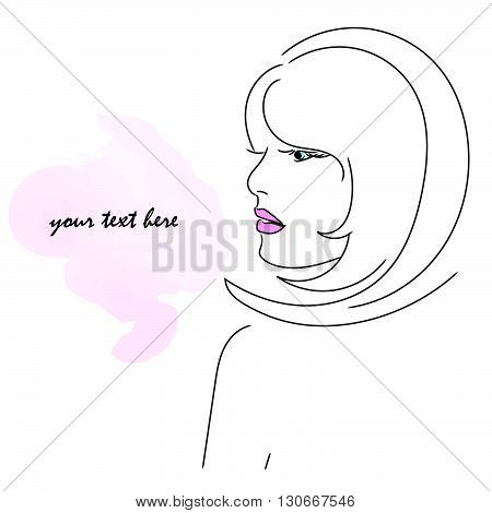 Girl in profile with pink lips.Outline, the outline.Vector illustration