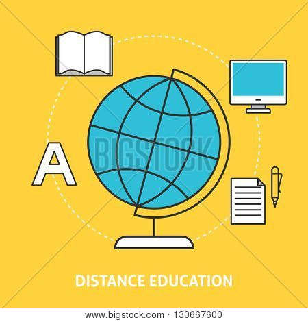 Distance education concept. Flat line icons for online education