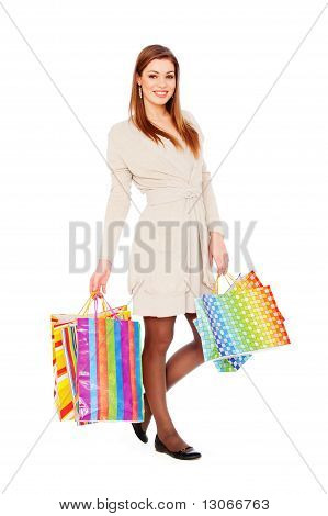 Smiley Woman With Shopping Bags