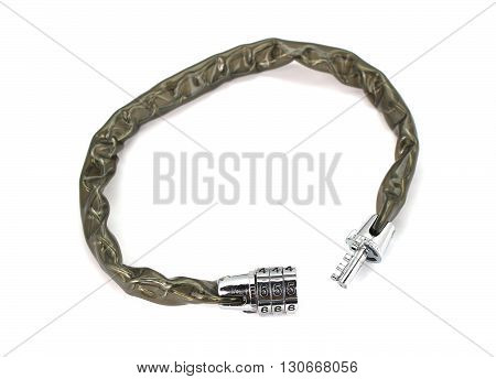 Wire Rope Locking Password Cable Isolated On White