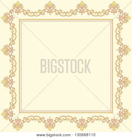 Classic vector square frame with arabesques and orient elements. Abstract colored ornament with place for text