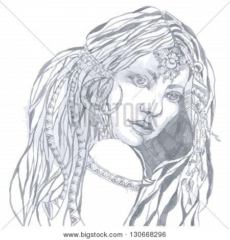 Indian woman with traditional make up and in chief headdress looking to the side. Vector