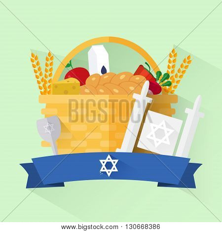 Jewish holiday shavuot banner with basket vegetables fruits milk and cheese in flat style.