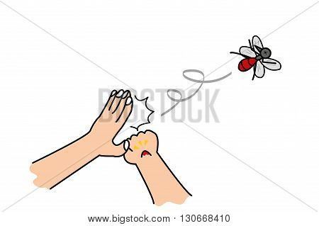 mans hand flicks mosquito after getting bitten cartoon illustration