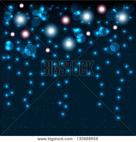 Abstract bokeh background with shining particles. Vector illustration