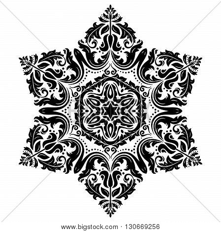 Oriental vector pattern with arabesques and floral elements. Traditional classic ornament. Hexagonal black and white pattern