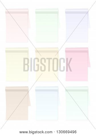 Color notepad set on a white background.