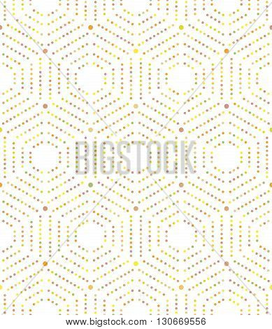 Geometric repeating vector ornament with hexagonal colorful dotted elements. Seamless abstract modern pattern