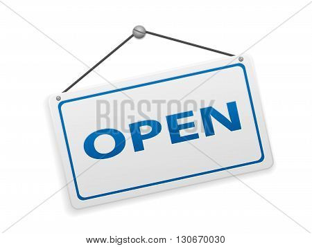 Open sign board on a white background.