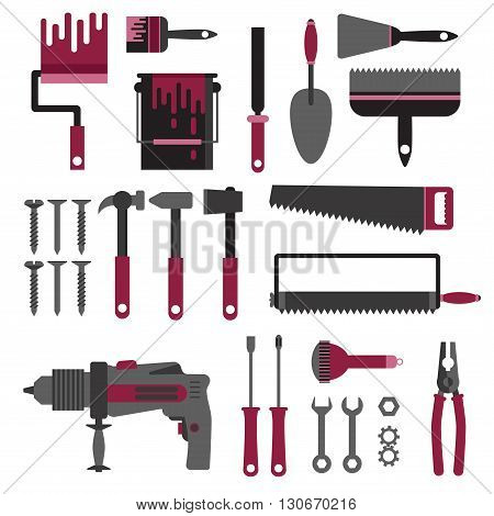 Repair house construction flat vector tools collection
