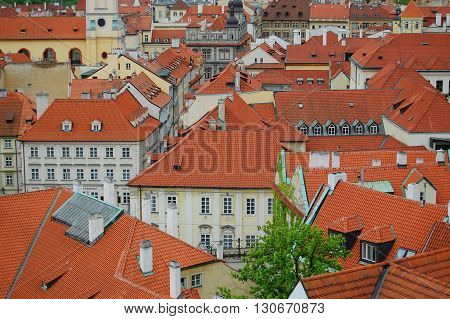 Prague. Medieval architecture. Awesome picture of red roofs