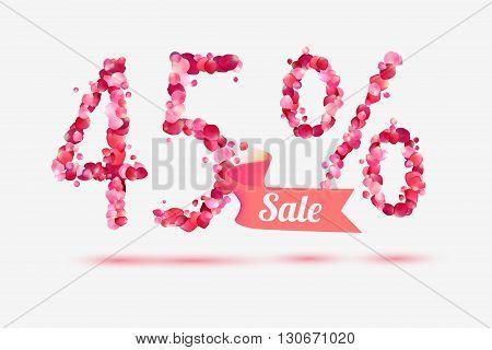 forty five (45) percents sale. Digits of pink rose petals