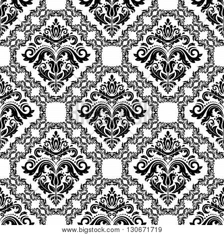 Oriental vector classic light and black pattern. Seamless abstract background with repeating elements