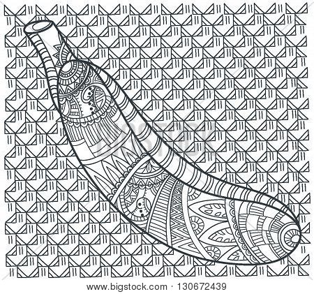 Banana on white background. Beautiful vector illustration. Hand-drawn zentangle tribal design element. Vector