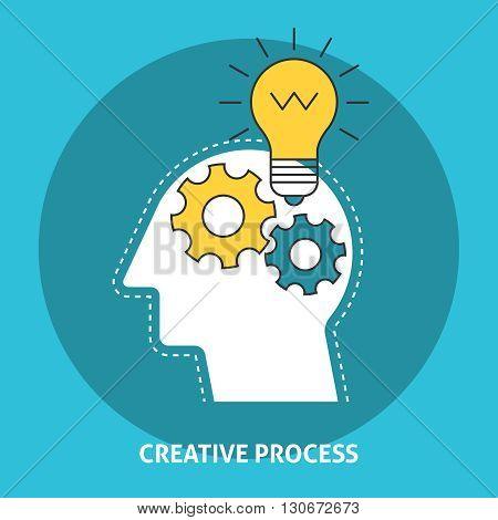 Gears brain on head. Creative process concept with lightbulb on head