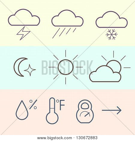 Weather icons set. Atmosphere pressure icon. Thin line icon.