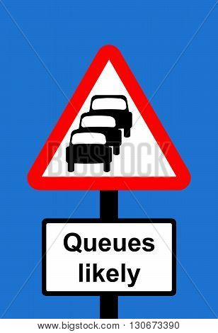 Warning triangle Traffic queues likely ahead sign