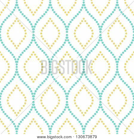 Seamless vector ornament. Modern geometric pattern with repeating dotted wavy lines