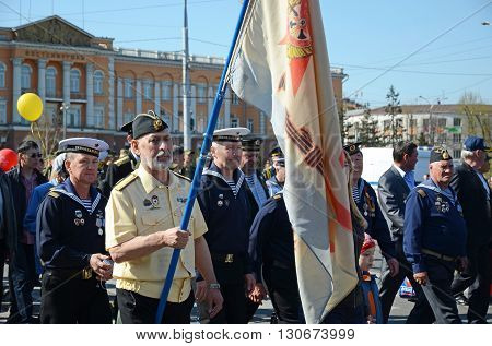 Irkutsk, Russia - May 9, 2015: Veterans Of The Pacific Fleet On Victory Day Celebration In Irkutsk