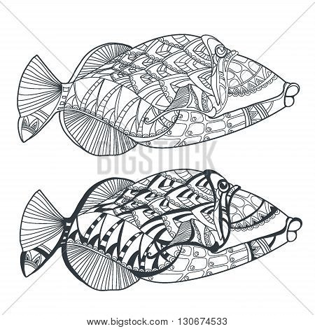 Fish. Hand drawn stylized sea fish ethnic floral doodle pattern zentangle style art sketch pattern. Coloring book page fabric print tattoo design isolated black on white background