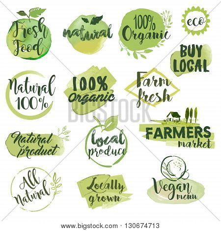 Hand drawn watercolor stickers and badges for organic food, restaurant and natural products. Vector illustration set for graphic and web design.