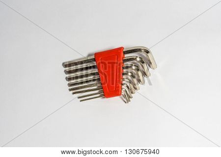 Allen Key (Hex Wrench) in white background