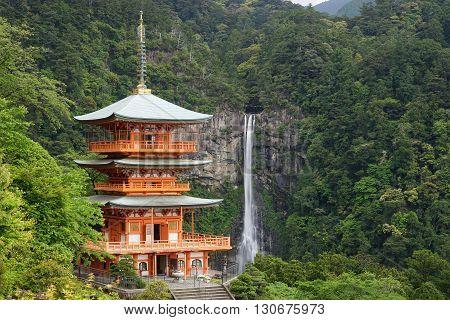 Nachi Waterfalls (Nachi-No-Taki) and Three stories pagoda in Wakayama, Japan.
