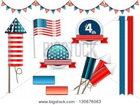 Decorative objects for celebrating independence day in USA