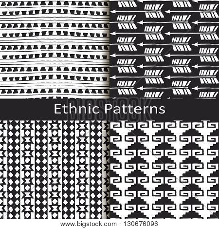seamless vector set of four monochrome ethnic lineal pattern designs