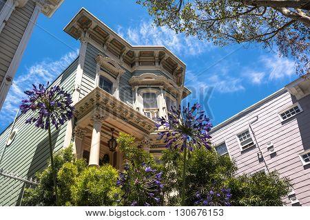 San Francisco,California,USA - July 6, 2015 : View of a Victorian House along Bush Street