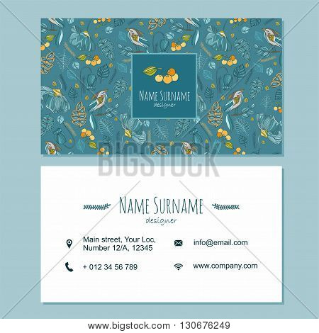 Visiting Card Business Card Template Set With Cute Hand Drawn Pattern. Cafe Or Boutique Branding Ele