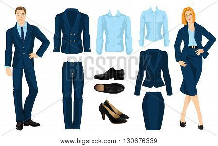 Vector illustration of corporate dress code. Office uniform. Clothes for business people. Secretary or professor in official blue formal suit. Woman in glasses. Pair of black formal shoes.