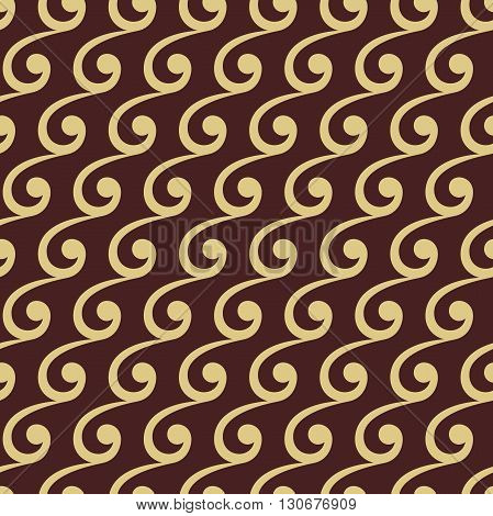 Seamless vector ornament. Modern geometric pattern with repeating wavy elements. Brown and golden pattern