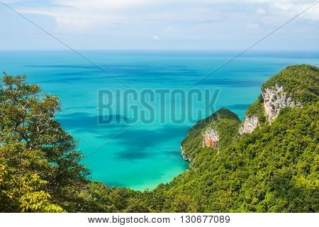 Beautiful Tropical Sea And Mountain. Ang Thong National Marine Park. Top View