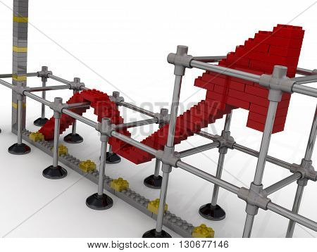 Red graph of growth from parts of children's designer on the white surface. Isolated. 3D Illustration