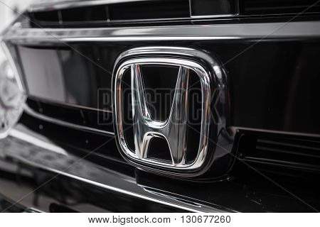BANGKOK, THAILAND - MAY 20, 2016 : Honda logo on Honda civic 2016 model, latest successor compact cars from Honda.