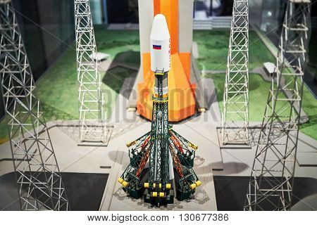 MOSCOW, RUSSIA - JAN 7, 2015: Model of launch pad of the rocket Soyuz at the launch site in French Guiana in The Museum of Cosmonautics.
