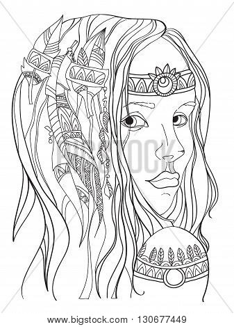 Girl in boho style. Beautiful girl . Vector
