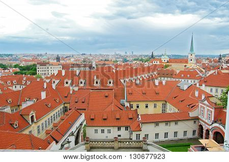 Prague cityscape. Czech Republic. St. Thomas Church. St.Nicholas Church. Old town view