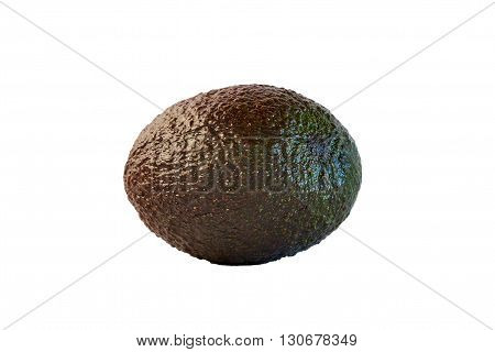 Avocado ripe and uncut on white background