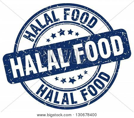 halal food blue grunge round vintage rubber stamp