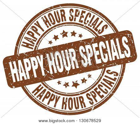 happy hour specials brown grunge round vintage rubber stamp